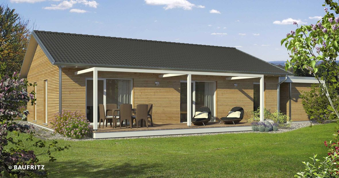 holzhaus mit satteldach bauen mitplanen und sparen baufritz bungalow. Black Bedroom Furniture Sets. Home Design Ideas